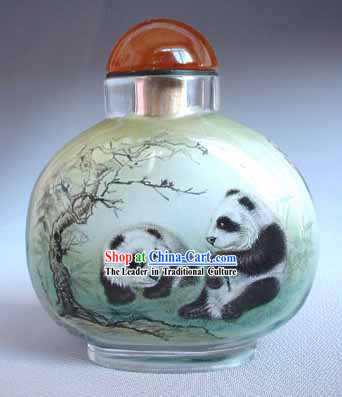 Snuff Bottles With Inside Painting Chinese Animal Series-Panda Friends