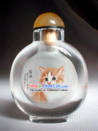 Snuff Bottles With Inside Painting Chinese Animal Series-Lovely Cat