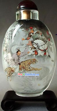 Snuff Bottles With Inside Painting Characters Series-Heroes Fighting on Leopard
