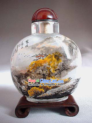 Snuff Bottles With Inside Painting Landscape Series-House Inside the Mountain