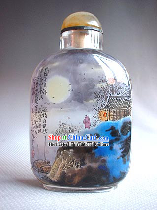 Snuff Bottles With Inside Painting Landscape Series-Full Moon Night