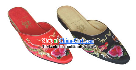 Chinese Traditional Handmade Satin Slipper _dragon and phoenix_