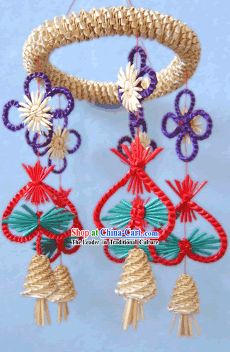Chinese Hand Made Folk Wheat Stalk Windbell