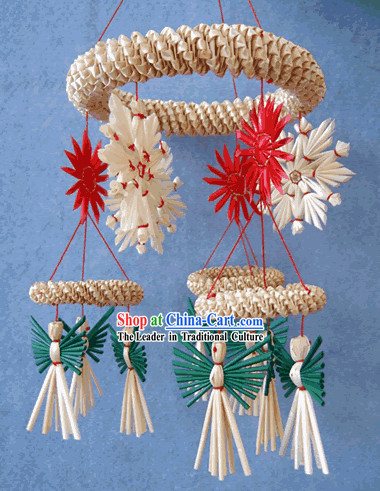 China Hand Made Wheat Stalk Windbell-Happy Angel