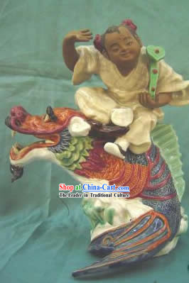 Chinese Porcelain Figurine/Statue from Shi Wan-Flying on Dragon