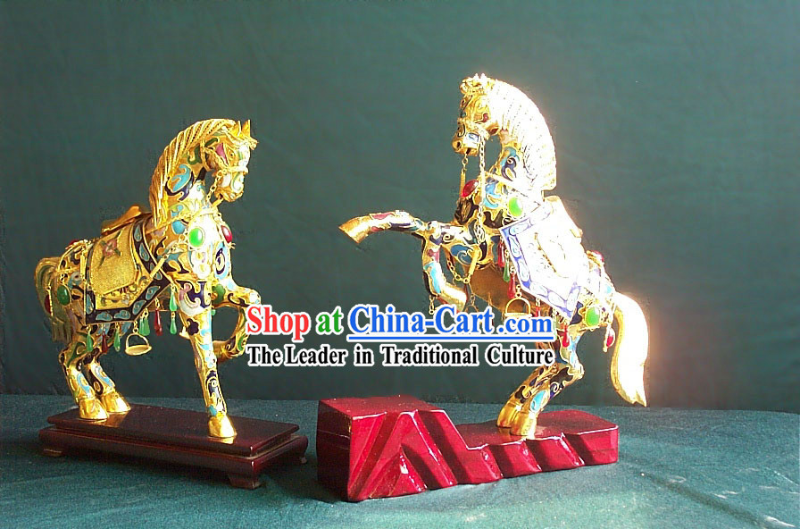 Chinese Classic Gold Brass Cloisonne Horse Pair