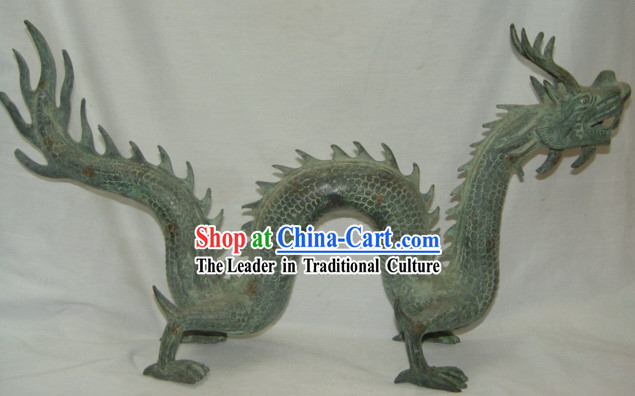 Chinese Rare Antiquated Long Bronze Dragon