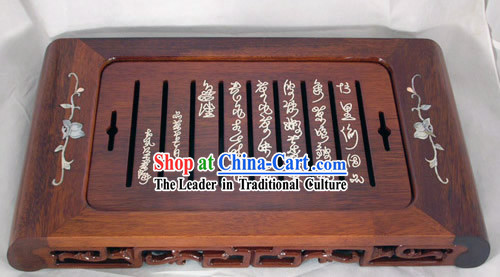 Chinese Seashell Carving Wood Tea Tray