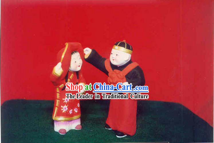 Chinese Hand Painted Sculpture Art of Clay Figurine Zhang-Getting Married Bride and Bridegroom