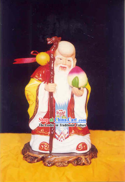 China Painted Sculpture Art of Clay Figurine Zhang-The God of Long Longevity_in ancient fable_