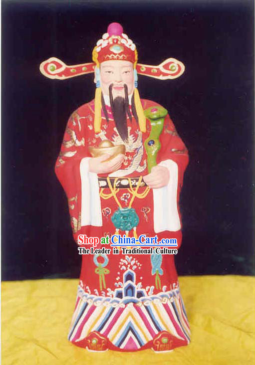 Chinese Hand Painted Sculpture Art of Clay Figurine Zhang-Plutus