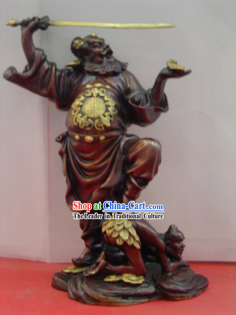 Chinese Classic Brass Statue-Zhong Kui Catching Ghosts