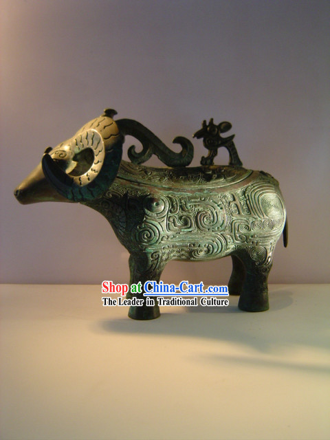 Chinese Classic Archaize Bronze Ware-Ancient Sheep Statue