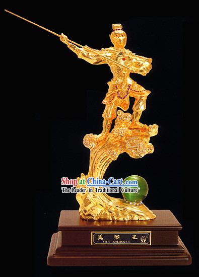 Chinese Classic Gold Beauty Monkey King Statue