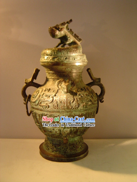 Chinese Classic Archaize Bronze Ware-Palace Pot of Dragon