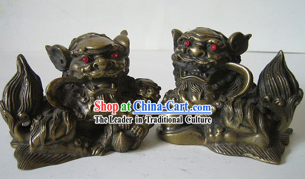 Chinese Classic Bronze Palace Lion Pair