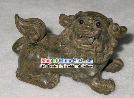Chinese Classic Hand Carved Wood Lion