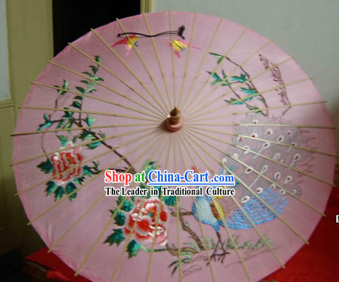 Hangzhou Classic Hand Embroidered Peacock Silk Umbrella