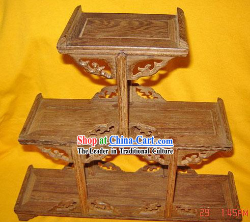 Chinese Ancient Palace Style Three Layers Wood Shelf