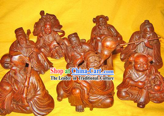 Chinese Classic Hand Carved Eight Immortals in the Legend Statues