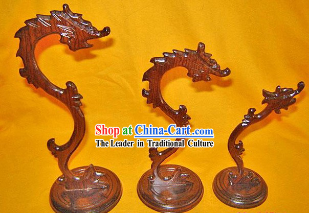 Chinese Palace Hand Carved Dragon Penholder_Three Pieces Set_