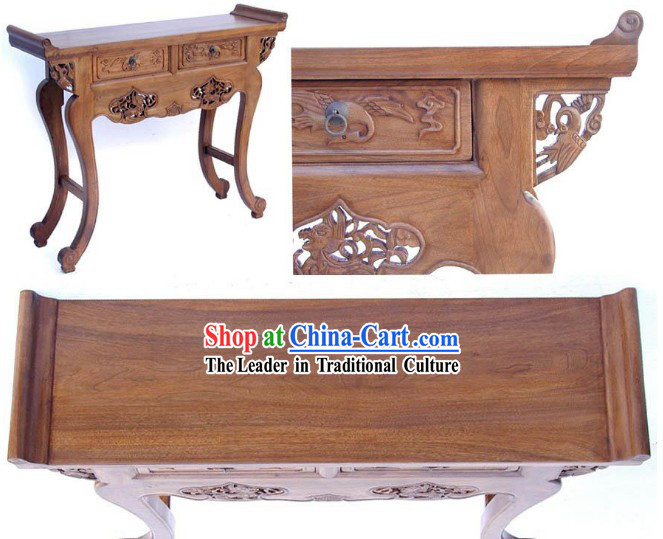 Chinese Ming Dynasty Style Classic Hand Carved Long Wood Console Table