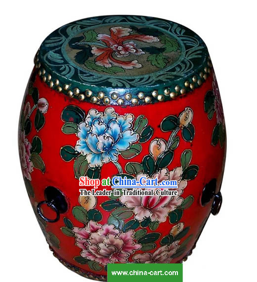 Chinese Coloured Drawing Riches and Honours Peony Tang Gu(Drum)