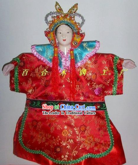 Chinese Classic Hand Puppet-Beautiful Bride in Traditional Red Wedding Costumes