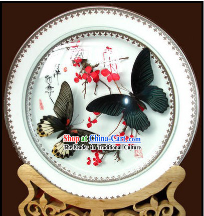 Yunnan Butterfly Porcelain Decoration Plate Handicraft