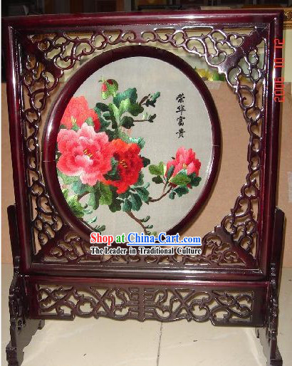 Chinese Classic Double-Sided Embroidery Handicraft-Blossoming Riches and Honour