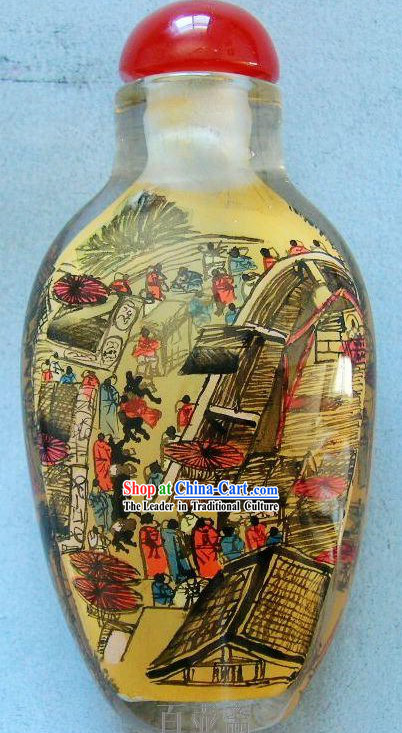 Chinese Classical Snuff Bottle With Inside Painting-Qing Ming Shang He Tu