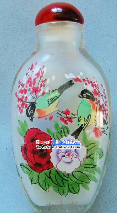 Chinese Classical Snuff Bottle With Inside Painting-Birds and Flowers 1
