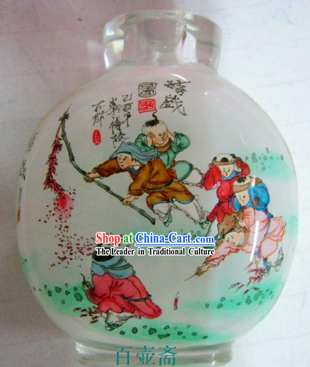 Chinese Classical Snuff Bottle With Inside Painting-Playing Fireworks