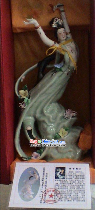 Chinese Stunning Ceramics Statue Collectible-Fei Tian(Flying Fairy)