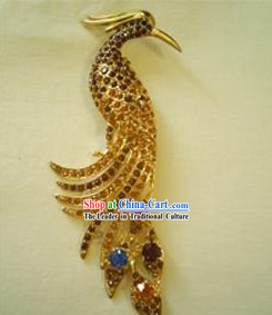 Chinese Stunning Golden Phoenix Brooch