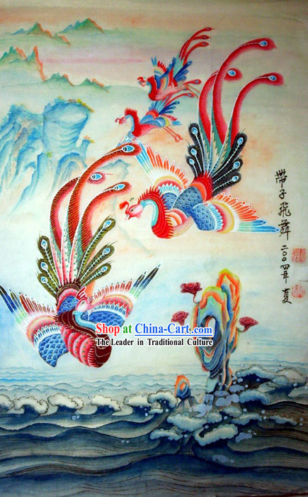 Chinese Traditional Painting with Meticulous Detail-Phoenix Gathering
