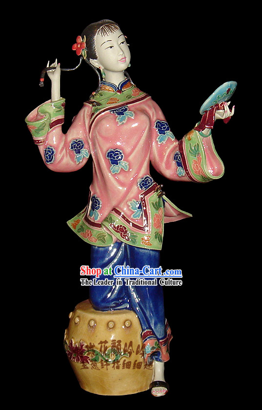Chinese Stunning Porcelain Collectibles-Ancient Woman Be Enraptured