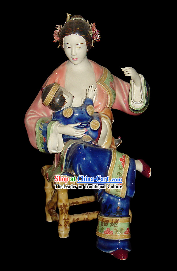 Chinese Stunning Colourful Porcelain Collectibles-Ancient Woman Feeding Bady
