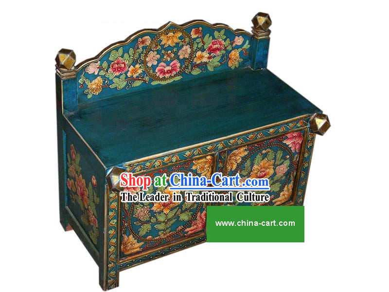 Chinese Blue Hand Painted Flowery Cabinet