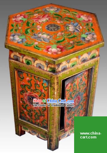 Chinese Palace Yellow Coloured Painting Storage Cabinet and Stool