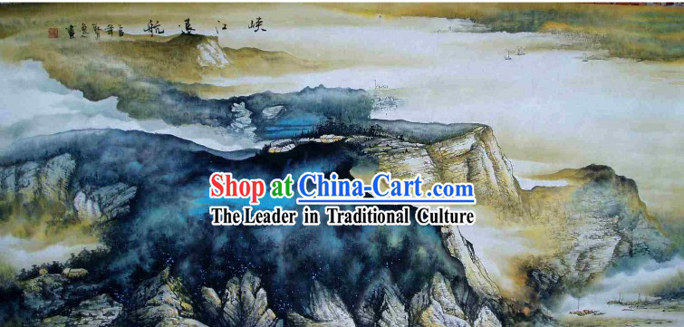 Large Traditional Chinese Painting by Shi Yiren-Sailing