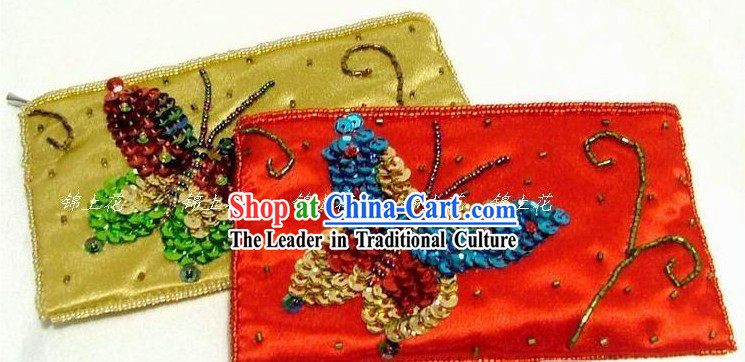 Chinese Hand Made Long Brocade Butterfly Purse