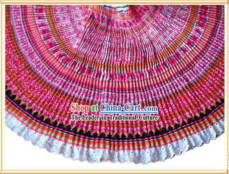 Chinese Stunning Hand Embroidered Rosy Pleat Skirt for Woman