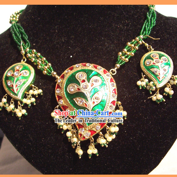 Indian Fashion Jewelry Suit-Green Phoenix Feather