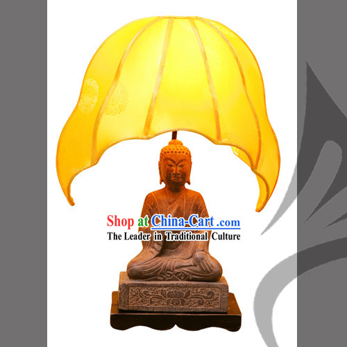 Chinese Hand Carved Stone Buddha Lamp-Fo_Fu_