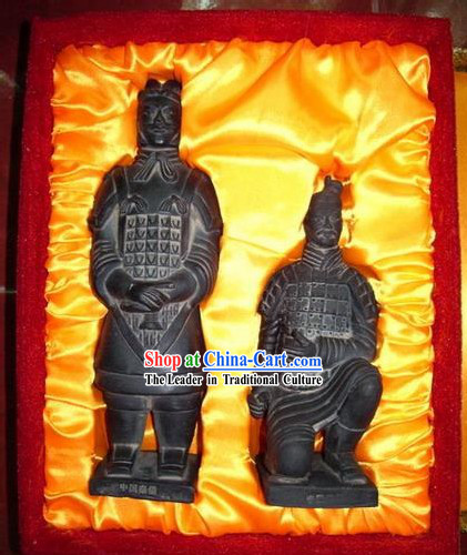 Chinese Terra Cotta Warriors Statue Artwork Set_two pieces_