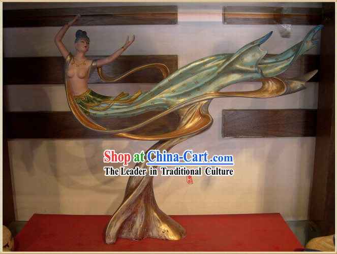 Chinese Dunhuang Painted Sculpture Petrogram Handicraft-Dancing Apsaras