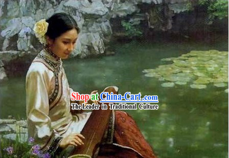 Chinese Oil Painting-Ancient Woman Playing Koto