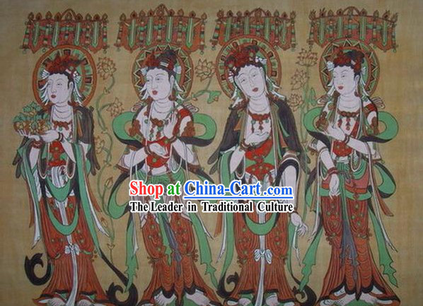 Chinese Dunhuang Fresto Painting-Buddha Travel