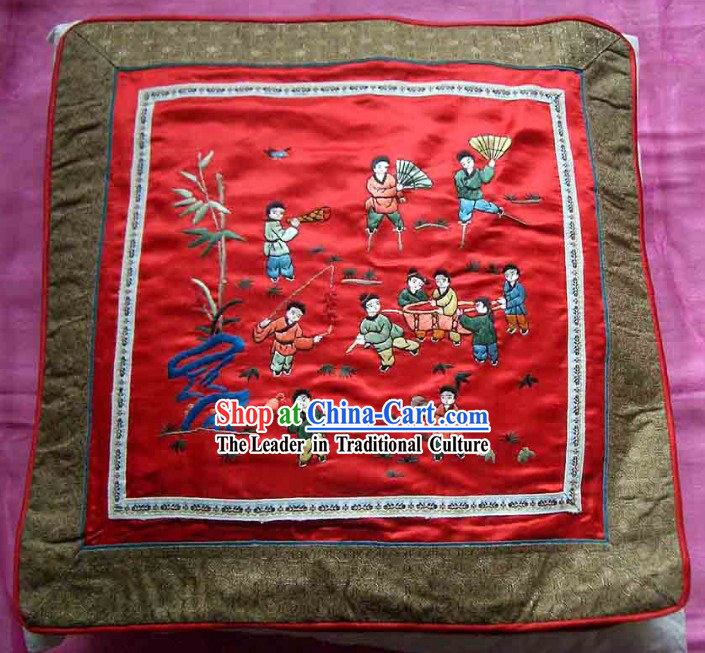 Chinese Hand Embroidered Silk Cushion-The More Sons, The More Blessings
